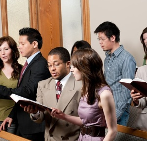 A diverse church congregation worshipping together - Buy credits